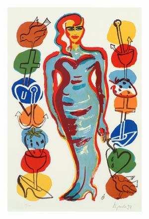 Frau mit Symbolen