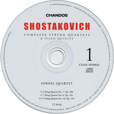 CD 3: String quartet No. 9, Op. 117 ; String quartet No. 13, Op. 138 ; String quartet No. 8, Op. 110 | Martin Roscoe