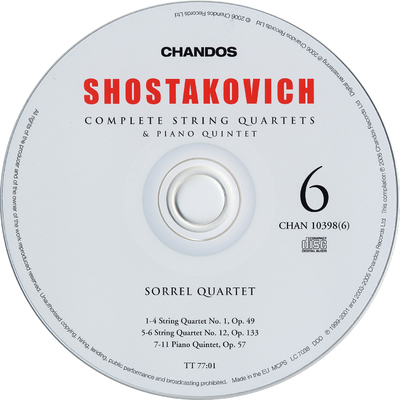 Image from object titled CD 1: String quartet No. 7, Op. 108 ; String quartet No. 6, Op. 101 ; String quartet No. 10, Op. 118