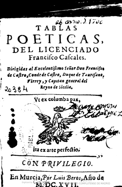 Image from object titled Tablas poeticas del licenciado Francisco Cascales ..