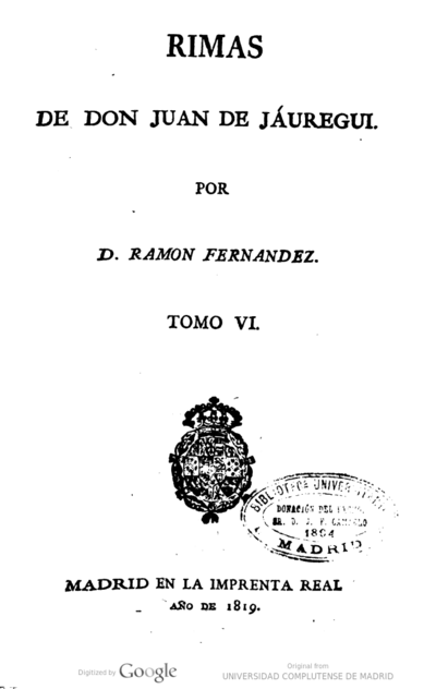 Image from object titled Rimas de Don Juan de Jáuregui