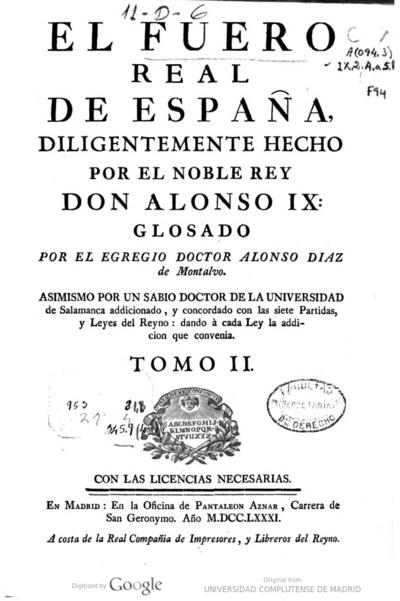 Image from object titled Fuero Real; El Fuero Real de España