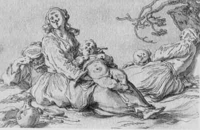 Een bedelaarsfamilie rust uit bij een boom