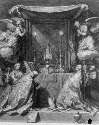 Bisschop en anderen in aanbidding voor het H.Sacrament omgeven door engelen