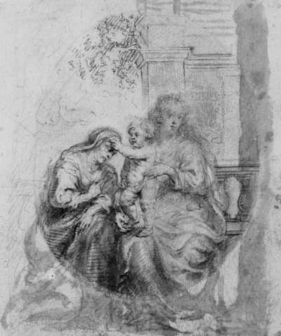O.-L.-Vrouw met staand Jezuskind dat de H.Anna streelt