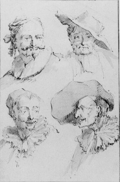 Vier mannehoofden, elk met ander hoofddeksel en kraag