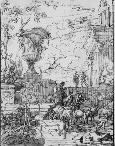 Kudde met herders temidden van antiquiserende architectuur