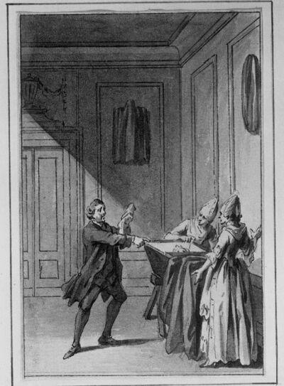 """""""Der zärtliche Mann"""" (de liefhebbende man) (illustratie voor een verhalenbundel)"""