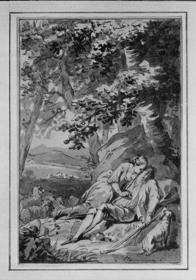 """""""Damötas und Phyllis"""" (illustratie voor een verhalenbundel)"""