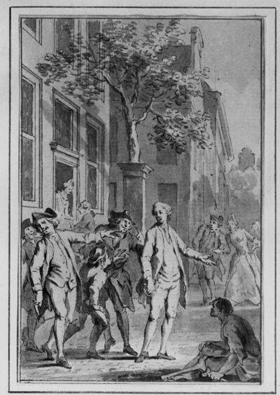 """""""Das Land der Hinkenden"""" (het land van de kreupelen) (illustratie voor een verhalenbundel)"""
