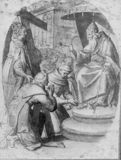 Sainte Hélène présente deux croisiers à un pape