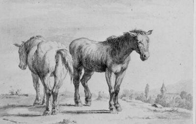 Deux chevaux dans un paysage