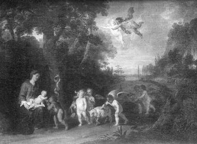 Offerande der engelen aan het kind Jezus