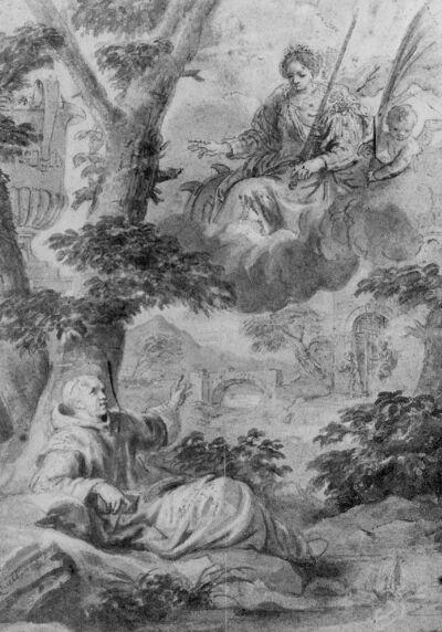Sint-Catharina verschijnt aan een monnik