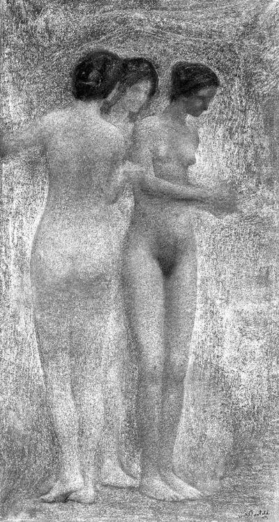 Etude d'un groupe de femmes nues