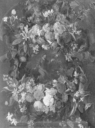 Bloemenkrans als omlijsting van Christus in de olijfhof