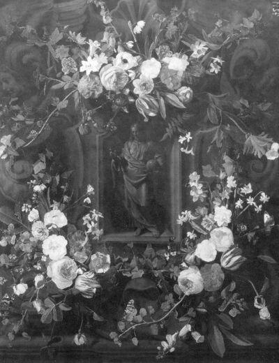 Salvator Mundi in een nis van bloemen