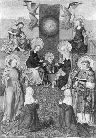 Sint-Anna te drieën omringd door de heiligen Johannes de Doper en Cecilia, twee franciscaner schenksters (?), de heilige Franciscus van Assisi en een heilige diaken