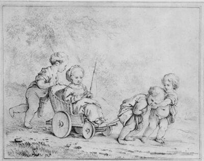 Meisje wordt door andere kinderen in een karretje voortgetrokken
