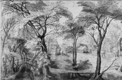 Landschap: huizen in een bos