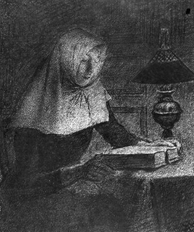 Béguine lisant sous la lampe