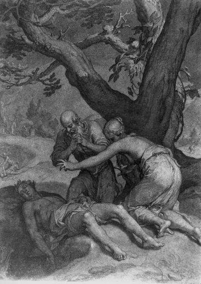 Adam en Eva bij het dode lichaam van Abel