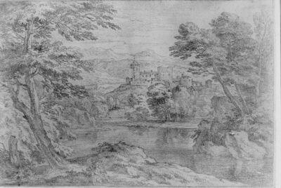 Landschap met zicht op een kasteel op een hoogte, omgeven door water