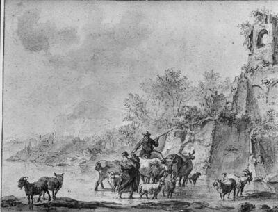Koeherder en -herderin doorwaden met hun kudde een rivier aan de voet van een ruïne