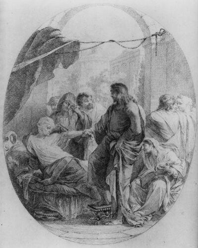 Christus wekt het dochtertje van Jaïrus ten leven (?) / De genezing van Petrus' schoonmoeder