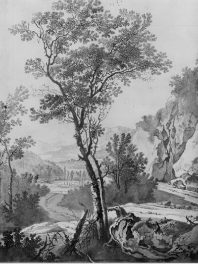 Italianiserend landschap met rotspartij en dal