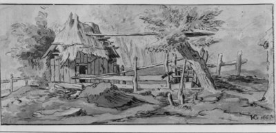 Bouwvallige schuur met afsluiting en enkele bomen