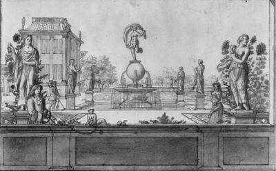 Park met fontein en standbeelden