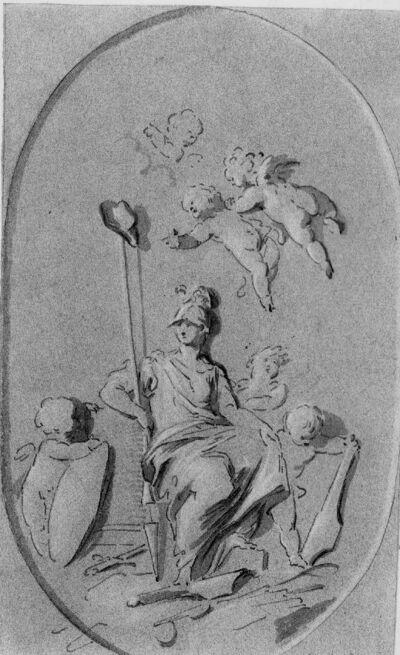 Allegorische voorstelling van de godin Minerva met putti