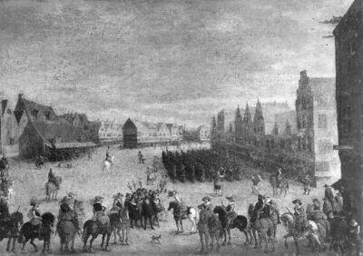 Het afdanken van de waardgelders door prins Maurits van Nassau te Utrecht,31 juli 1618
