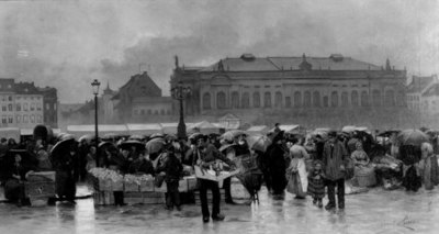 De markt voor de schouwburg te Antwerpen