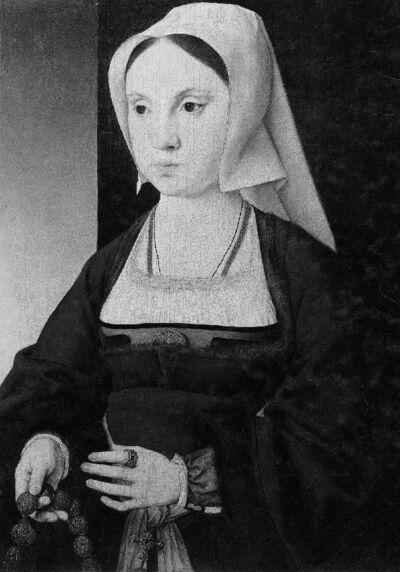 Portret van een jonge dame met een bidsnoer