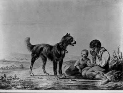 Twee kinderen en een hond op de weg