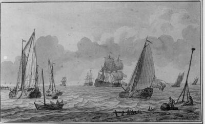 Marinestuk: veel zeilschepen bij de kust