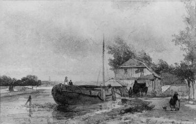 Schip aan rivieroever