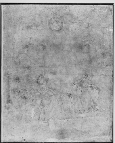 Schets voor Christusfiguur in de Hof van Olijven en voor een tweede figuur