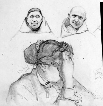 Femme, la tête appuyée sur la main - Deux têtes de moines