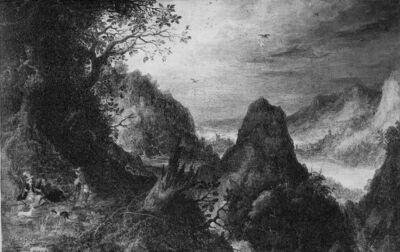Landschap met rivierdal en met toneel uit een valkenjacht
