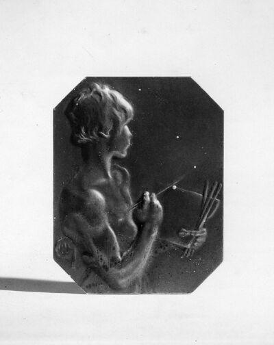 Plaquette octogonale avec allégorie de la peinture