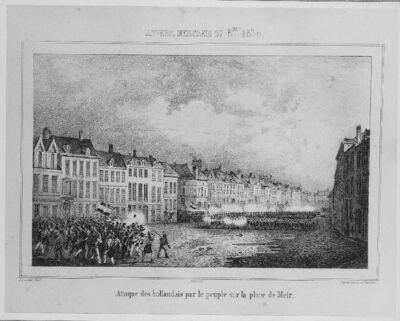 Strijdtafereel op de Meir te Antwerpen - de Nederlanders aangevallen door het volk