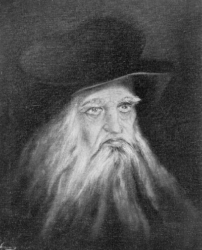 Portret van een oude man met hoed en baard