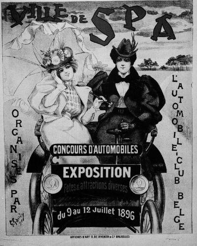 Ville de Spa, concours d'automobiles, exposition du 9 au 12 Juillet 1896.