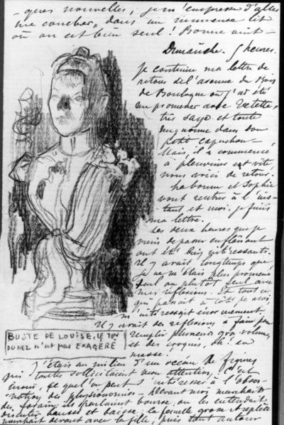 Lettre 80 du 25 novembre 1893 Buste de Louise Femme rousse de dos