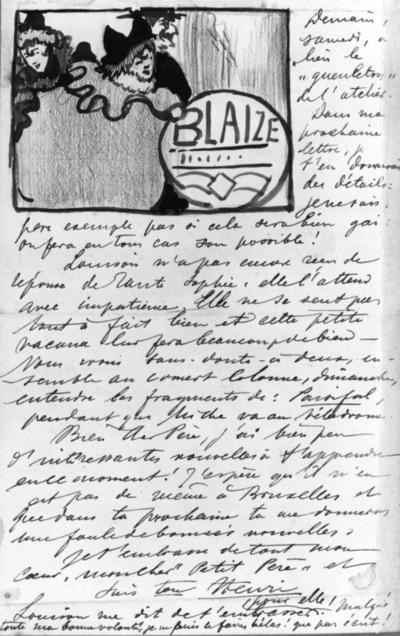 Lettre 93 du 19 janvier 1894 Projet pour Blaize