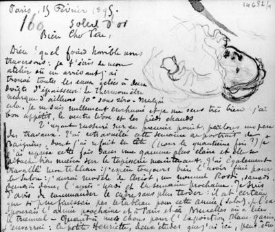 Lettre 160 du 15 février 1895 recto: Charles Verso: Profils (femme et fillette) Recto: Sophie debout, femme au chapeau noir et 9 têtes Verso: Buse homme au chapeau de profil Femme au parapluie et trois têtes