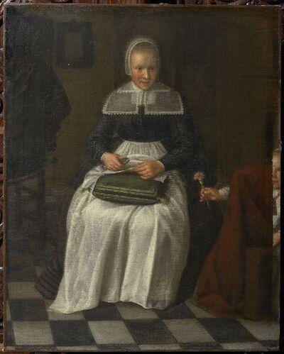 Weesmeisje aan het naaien